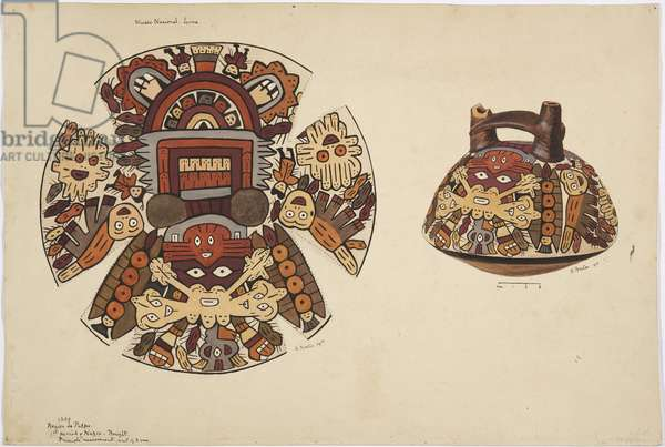 Round-bottomed squat vessel with painted decoration of fantastical feline and double spout handle (w/c)