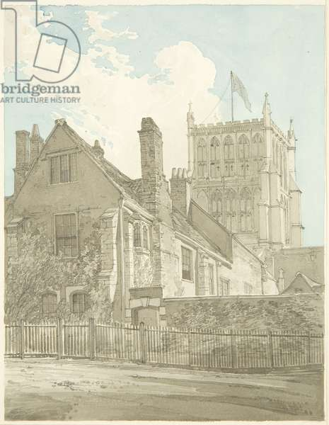 Bristol Cathedral and one of the Prebendal Houses (pencil & w/c on paper)
