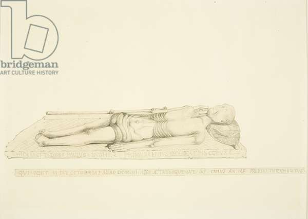 Effigy of Bishop Paul Bush in Bristol Cathedral (pencil & w/c on paper)