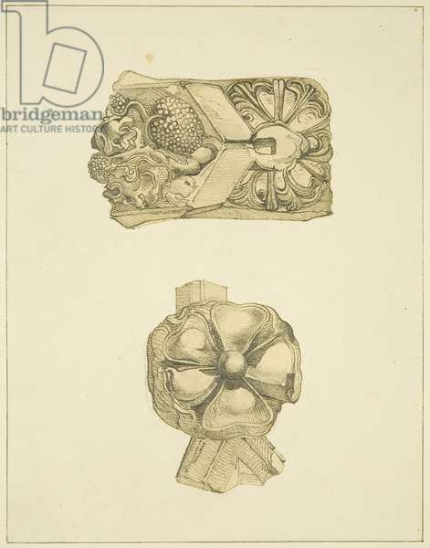 Stone carvings from St Thomas's Church (pencil & w/c on paper)