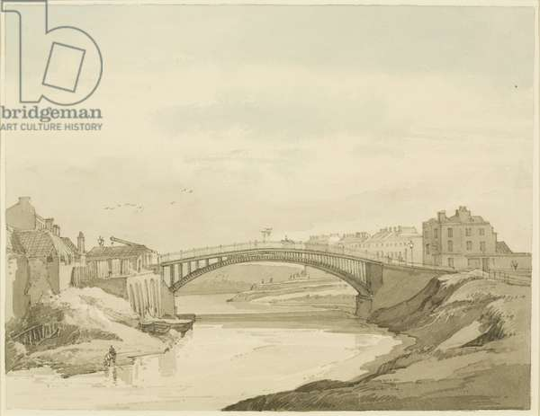 Hill's Bridge, on the Bath Road, outside Temple Gate, looking West, 1821 (pencil & w/c on paper)