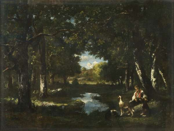Man and Dog Resting in Forest Glade (oil on canvas)