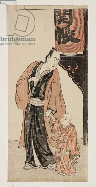 Man and Child in Buddhist Temple during Kaich? (colour woodblock print)