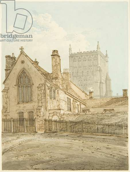 Bristol Cathedral and Prebendal House in Lower College Green (pencil & w/c on paper)