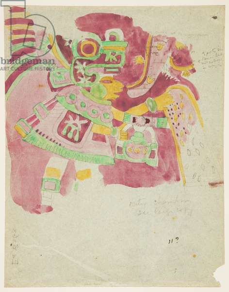 Painting of a fresco from outer chamber, Penafiel, Teotihuacan, Mexic