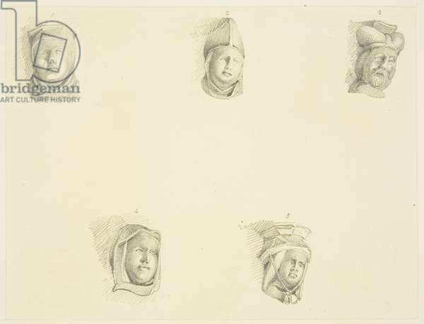 11 corbel heads about the cloisters of Bristol Cathedral (pencil on paper)