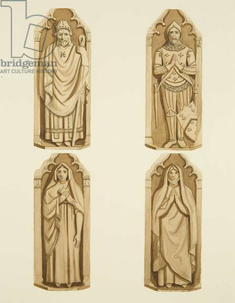 Four figures decorating the doors made by Clarke, on each side of the altar of St Mark's (w/c on paper)