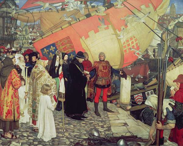 The Departure of John and Sebastian Cabot from Bristol on their First Voyage of Discovery in 1497, 1906 (oil on canvas)