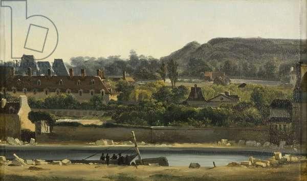 L'Hopital Saint Louis et les Buttes-Chaumont, Paris, c.1830 (oil on canvas)