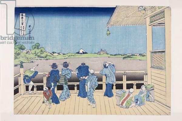 Sazai Hall of the Temple of the Five Hundred Arhats (Gohyaku Rakan-ji Sazaid?) (colour woodblock print)