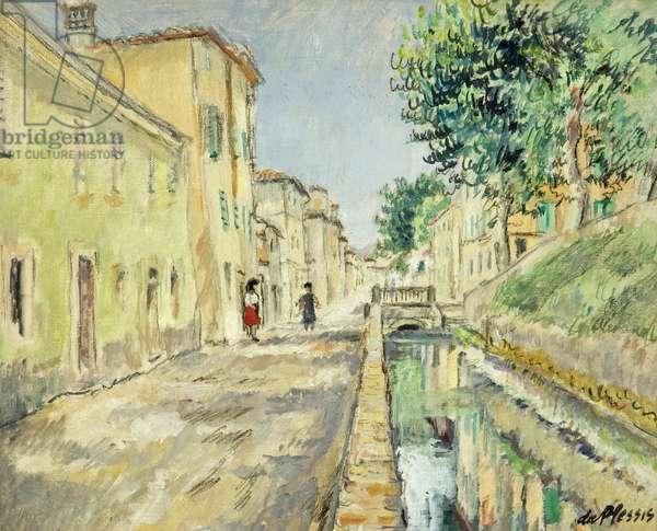 Via del Fossa, Lucca, Italy, c.1953 (oil on canvas-covered board)