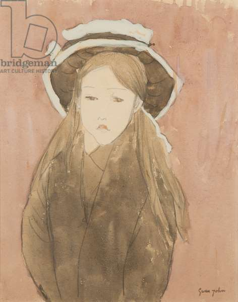 Little girl wearing large hat (w/c on paper)