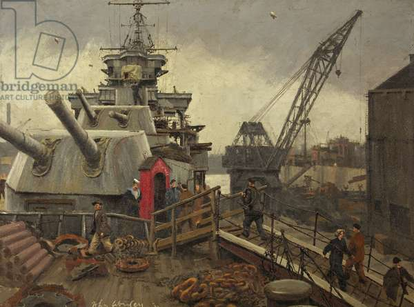 Refitting in Dry Dock, the Forecastle Sentry, c.1943 (oil on canvas)