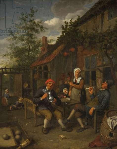 Peasants Drinking Outside an Inn (oil on panel)