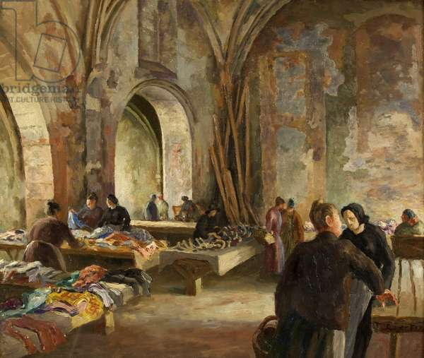 Market in a Disused Church in France, 1928 (oil on canvas)