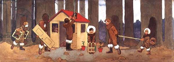The Lost Boys with the House they have Built for Wendy, Illustration to 'Peter Pan', c.1906