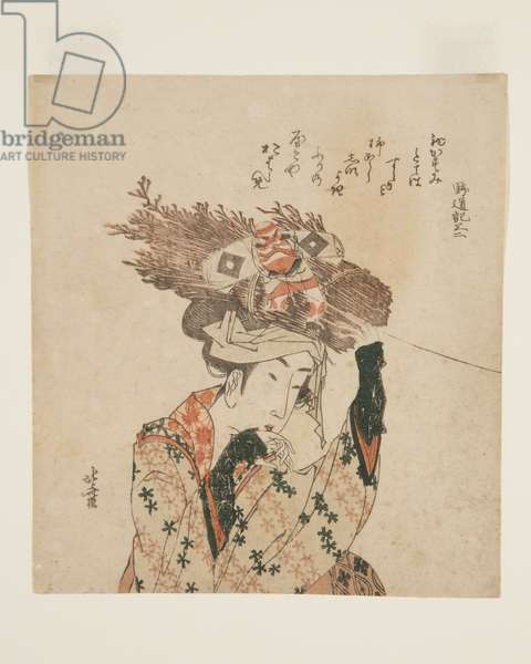 Woman of ?hara with Firewood Bundle and Kite  (colour woodblock print)