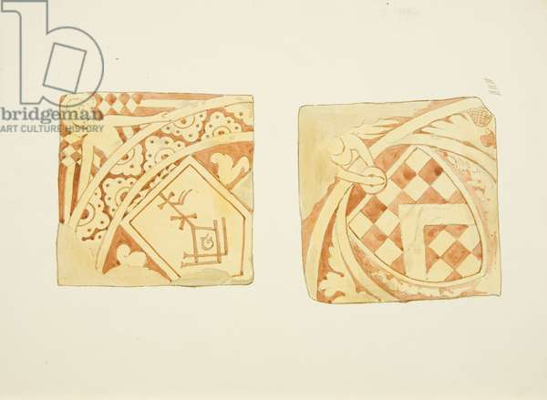 Tiles discovered in St James's Church, Bristol (pencil & w/c on paper)
