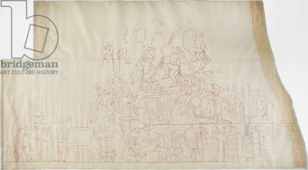 Tracing of a wall painting from the south vault ceiling, Upper Temple of the Jaguars, Chichen Itza, Mexico    (red ink)