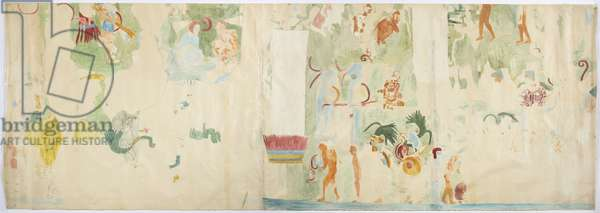 Tracing of a wall painting from north panel, west wall, Upper temple of the Jaguars, Chichen Itza, Mexico   (w/c & bodycolour)