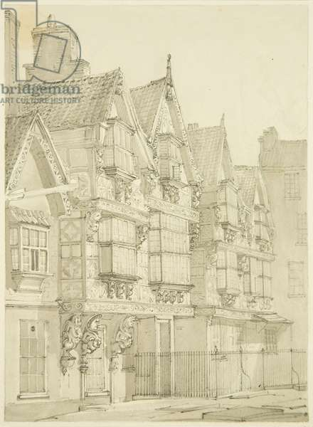 Exterior of the Mint (now St Peter's Hospital) (pencil & w/c on paper)