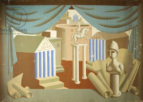 Stage Set with Classical Buildings and Sculpture, c.1930-35 (oil on canvas)