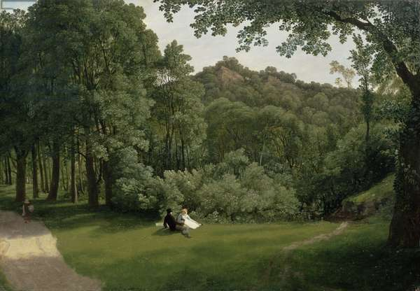 View of Blaise Castle Woods (oil on panel)