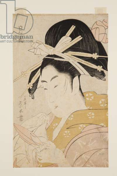 The Courtesan Tsukioka of the Hyogo Establishment (colour woodblock print)