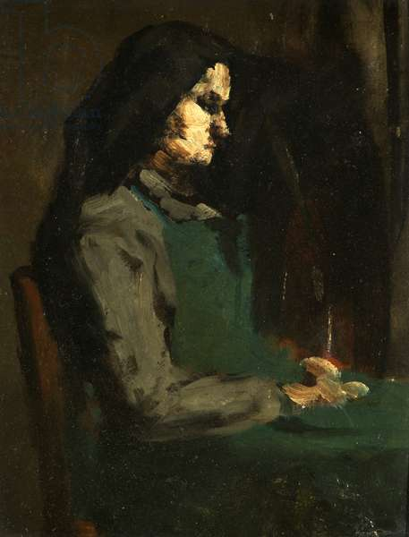 Woman with a Green Apron (oil on cardboard)