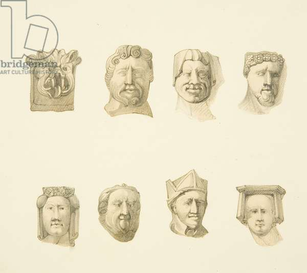 Eight corbels, in St Philip's (drawing, watercolour)
