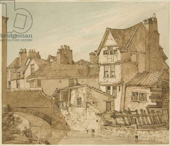 Old Houses near Bridewell Bridge (pencil & w/c on paper)