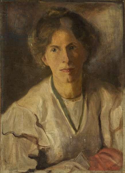 Portrait of Miss Annie Kenney, c.1910 (oil on canvas laid on hardboard)