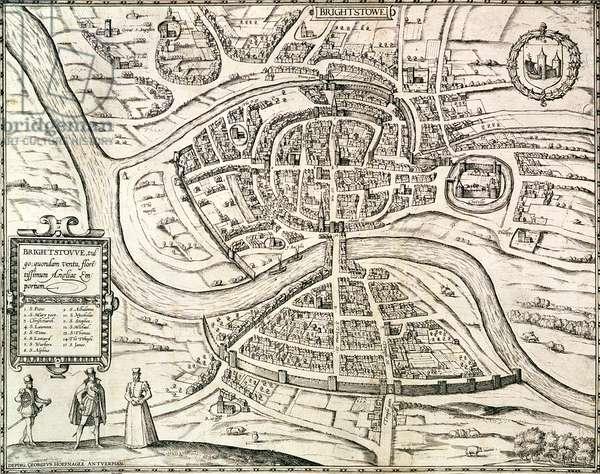 Map of Bristol, from 'Civitates Orbis Terrarum' by Georg Braun (1541-1622) and Frans Hogenberg (1535-90) 1581 (engraving)
