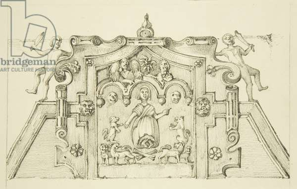 Frieze in the vestibule of the Mint (now St Peter's Hospital) (pencil & w/c on paper)