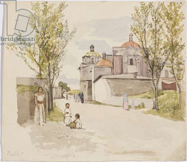 View of a village street with women and children - Puebla (?), Mexico (w/c & graphite)