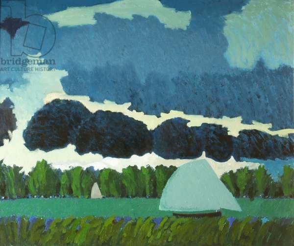 Landscape: Boats on a Pond, 1975 (oil on canvas)
