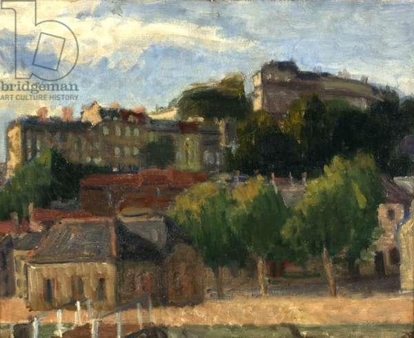 Clifton from Cumberland Basin, 1938 (oil on canvas)