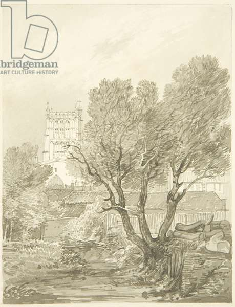 View of Bristol Cathedral from Mansfield's Dock or Point (pencil & w/c on paper)
