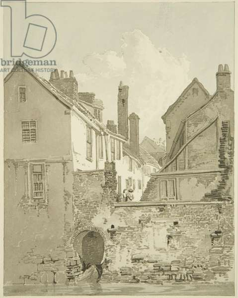 Greyhound Court, Lewin's Mead, 1821 (pencil & w/c on paper)
