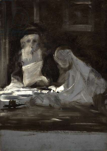 Sketch of Two Seated Figures, 1875-1900 (oil, grisaille, on cardboard)