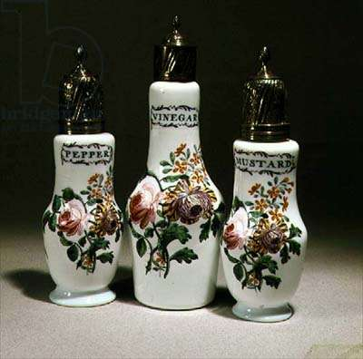 Cruet set of opaque white glass, c.1740-1760 (glass)