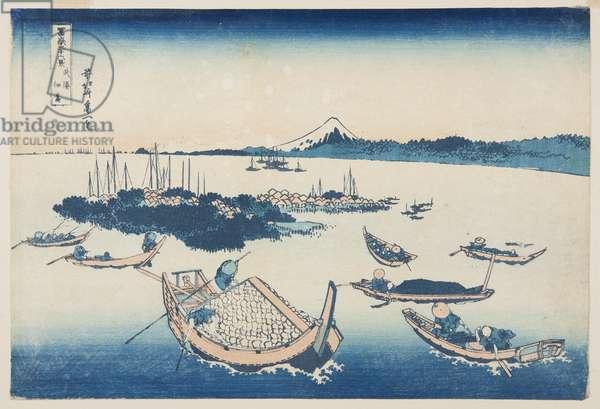 Tsukuda-jima [in Edo] in Musashi Province (Buy? Tsukuda-jima) (colour woodblock print)