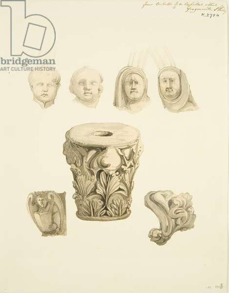 Four corbels of a capital and other fragments of architectural detail in St Philip's (pencil & w/c on paper)