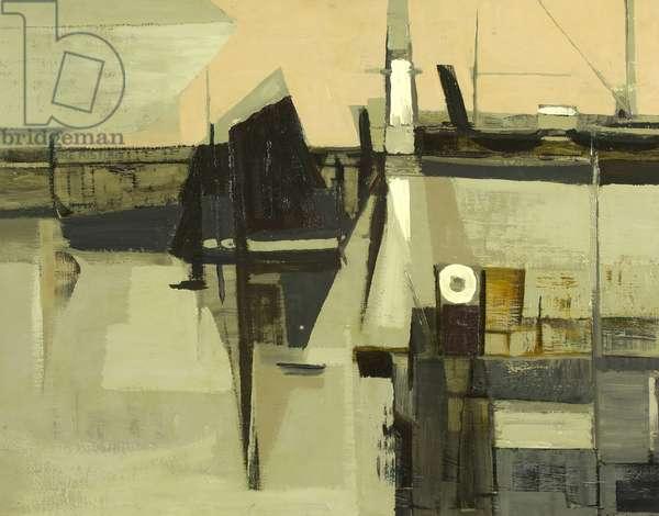 Newlyn Harbour, 1953 (oil on fibre board)