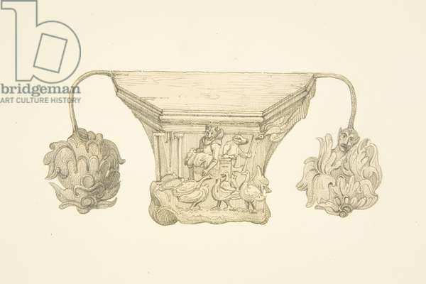 Carved misericord in the stalls of Bristol Cathedral (pencil & w/c on paper)