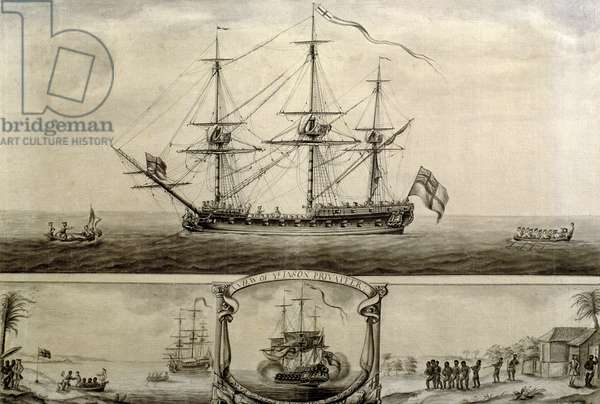 A View of Ye Jason Privateer, c.1760 (pen &ink and wash)