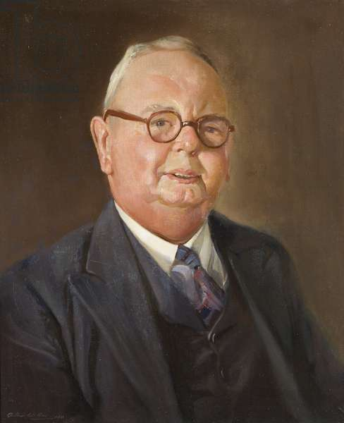 Portrait of Mr H. E. Chapman, long-serving employee of the Wills company, 1950 (oil on canvas)