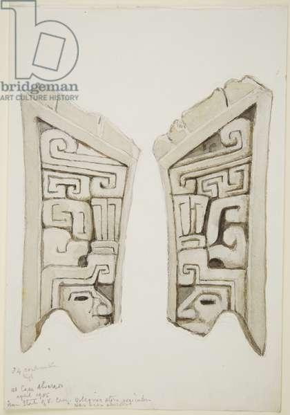 Arved stone relief from Veracruz, Mexico (w/c)