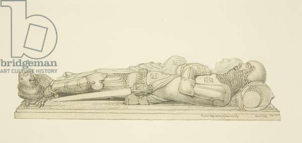 Effigies of Robert Fitzharding and his wife, in Bristol Cathedral (pencil & w/c on paper)