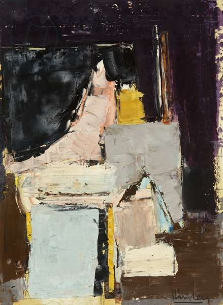 No.206; Study for Studio Interior, 1960 (oil & pencil on paper laid on card)